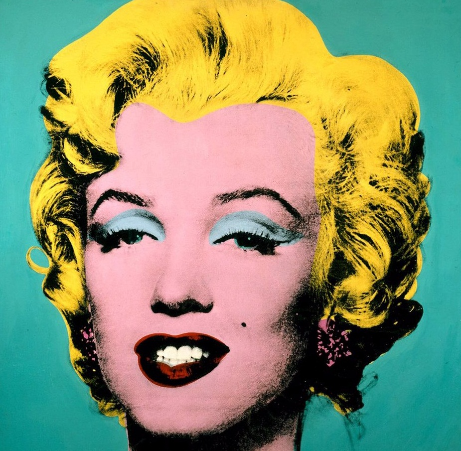 Andy Warhol, Turquoise Marilyn, 1962. The silkscreen pop art painting was reproduced from a magazine still after the star's suicide.