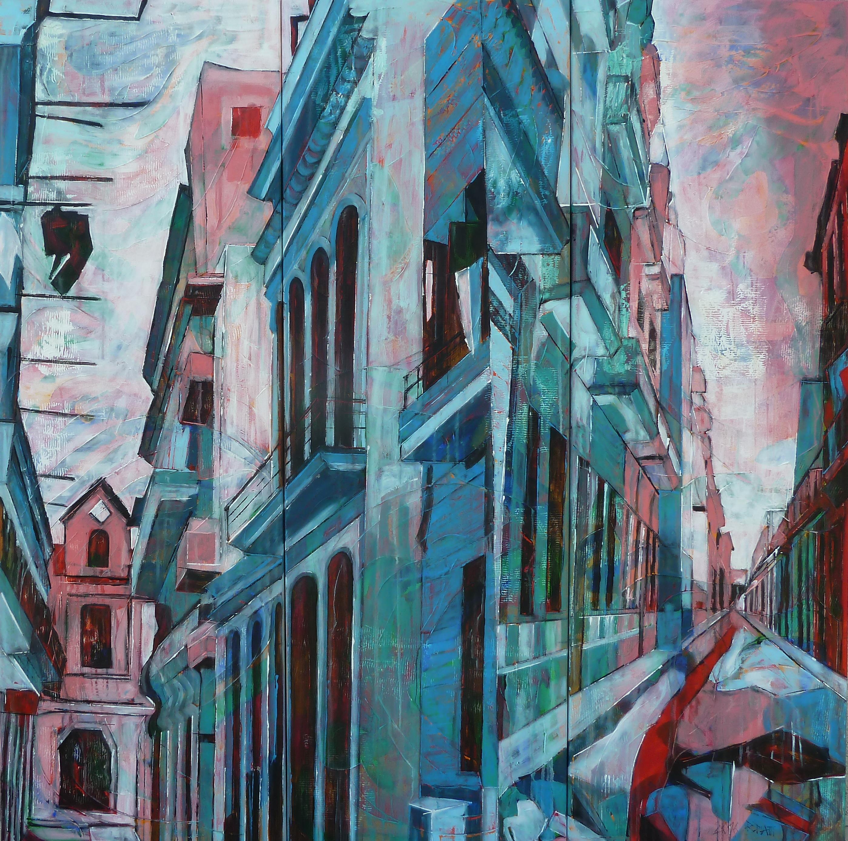 Old Havanna triptyque, La Havane huile sur toile 2016, 150 x 150 cm