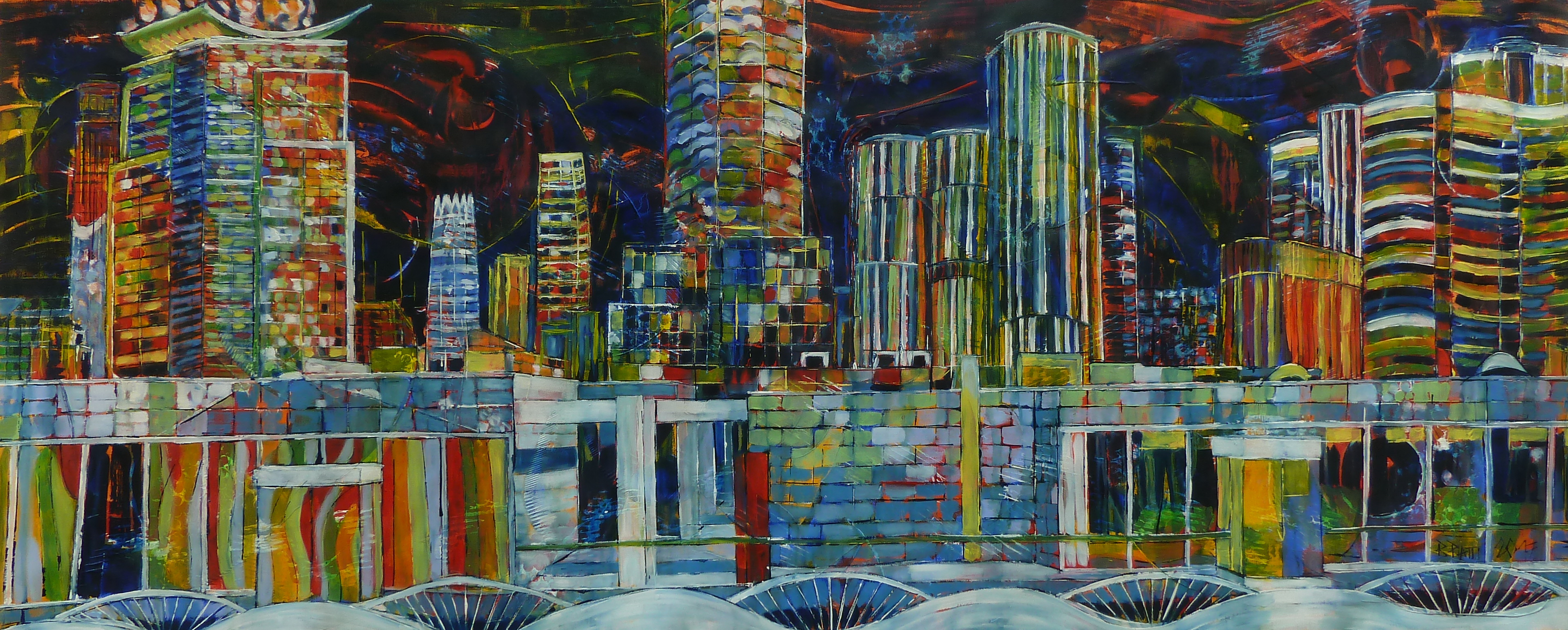 Soho's Intensity Beijing 2017, huile sur toile 60 x 150 cm
