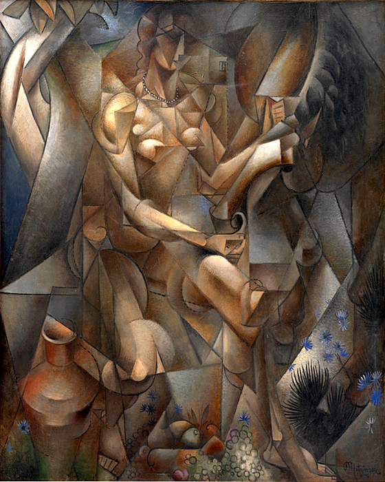 Jean Metzinger, 1911-12, La Femme au Cheval, Woman with a horse, oil on canvas, 162 x 130 cm, Statens Museum for Kunst, National Gallery of Denmark