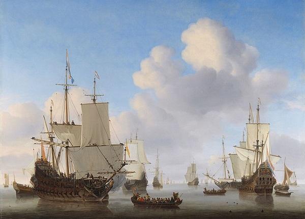 Willem_van_de_Velde_II_-_Dutch_men-o'-war_and_other_shipping_in_a_calm