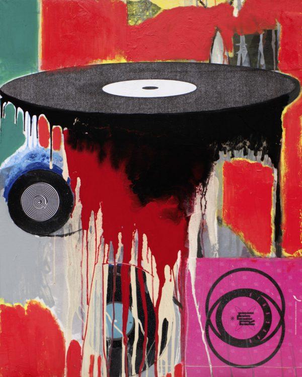 Die Welt ist eine Scheibe, 2013, Mischtechnik auf Leinwand, 100 x 80 cm