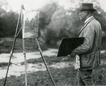 Der Maler Heinrich Giebel vor der Staffelei, um 1935