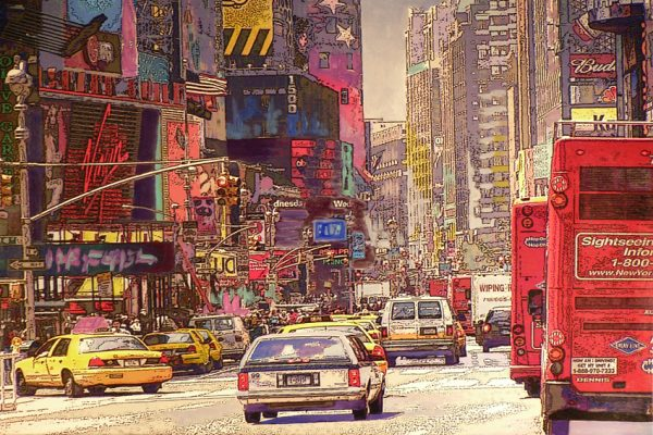 Marion Zimmermann-Times Square Xl-Acrylic and print on canvas-50x75cm