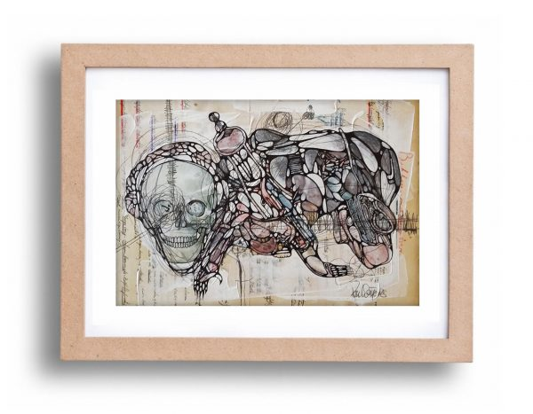 Ron Weijers - Twisted Minds 001 - 35x27cm - framed 40x50cm - mixed media on paper - 2017