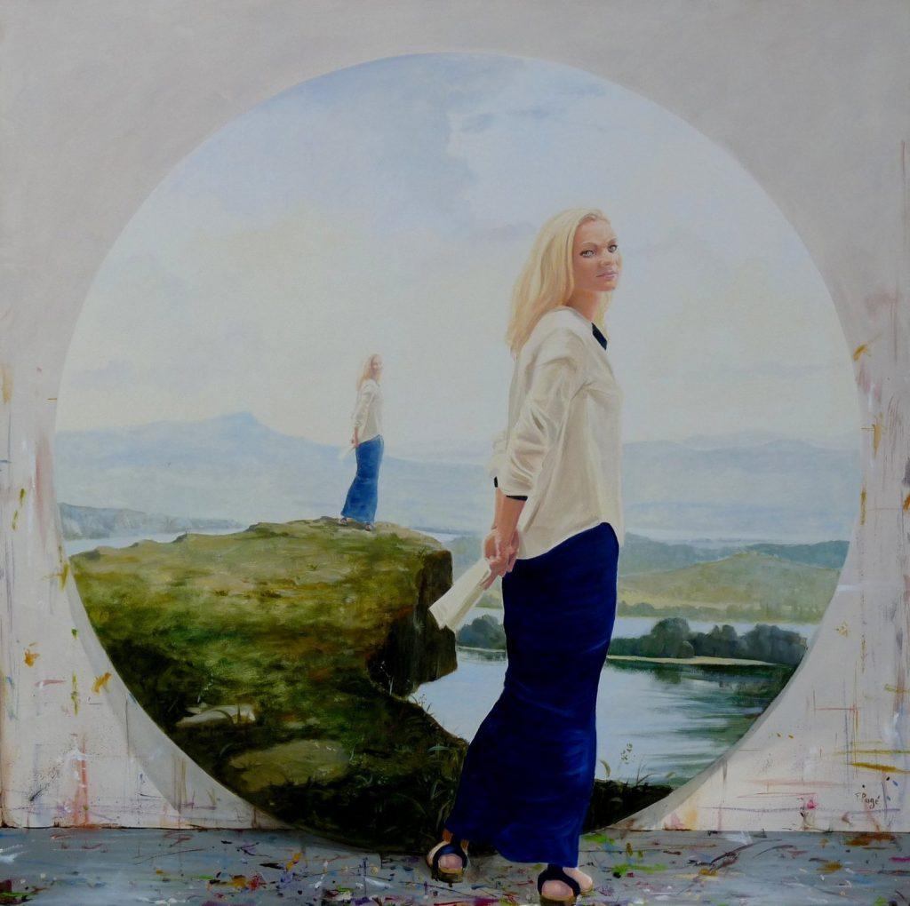 portrait painting: L'instant précis où Daniela posait pour les dernières retouches du tondo : « La terre est ronde », François PAGE, 2014, Oil on Canvas, 120 x 120 cm