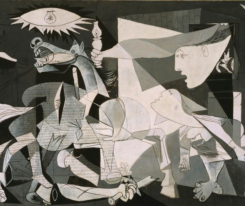 Detailansicht von Pablo Picassos Guernica, Bildmitte, Pferd, Lampe, Frauen