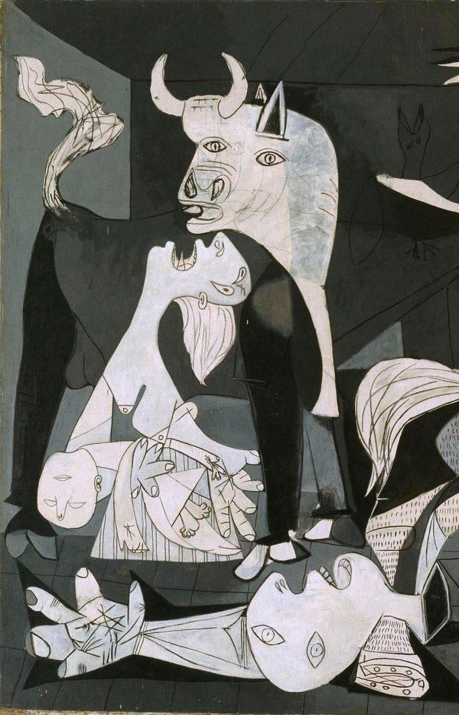 Detailansicht von Pablo Picassos Guernica, linker Bildausschnitt, Stier, Frau mit Kind, Mann auf dem Boden liegend