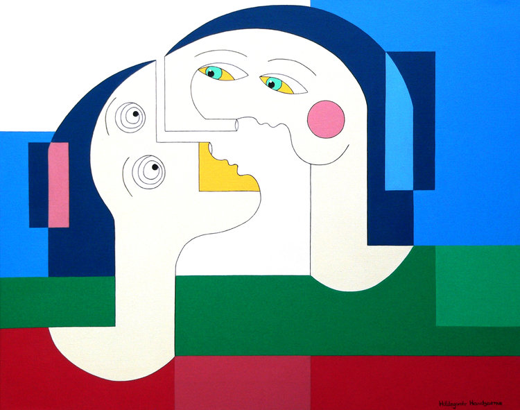 'Flying Lovers', one of Handsaeme's paintings that will displayed at the exhibition.