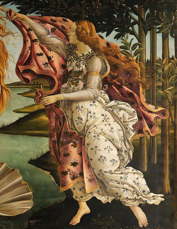 Hora. Ausschnitt aus: Sandro Botticelli, Die Geburt der Venus.