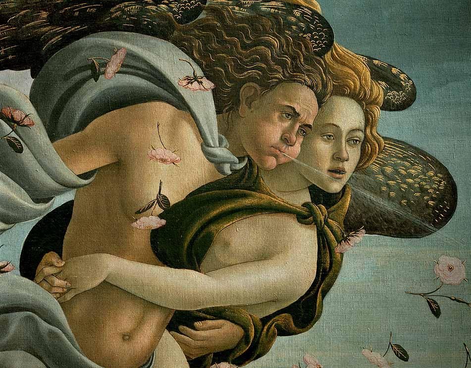 Zephyr und seine Gefährtin Chloris. Ausschnitt aus: Sandro Botticelli, Die Geburt der Venus.