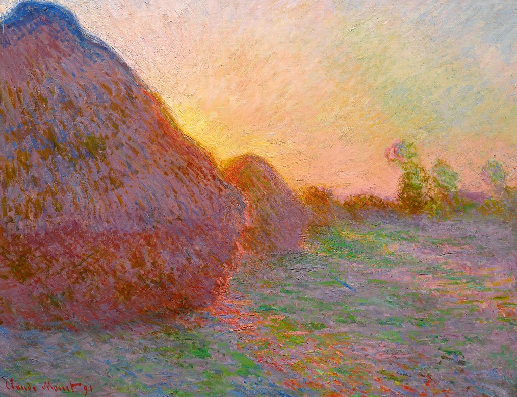 "The painting from Claude Monet's ""Meules"" (""Grainstacks"") series sold for over 110 million on Tuesday. Image via Sotheby's."