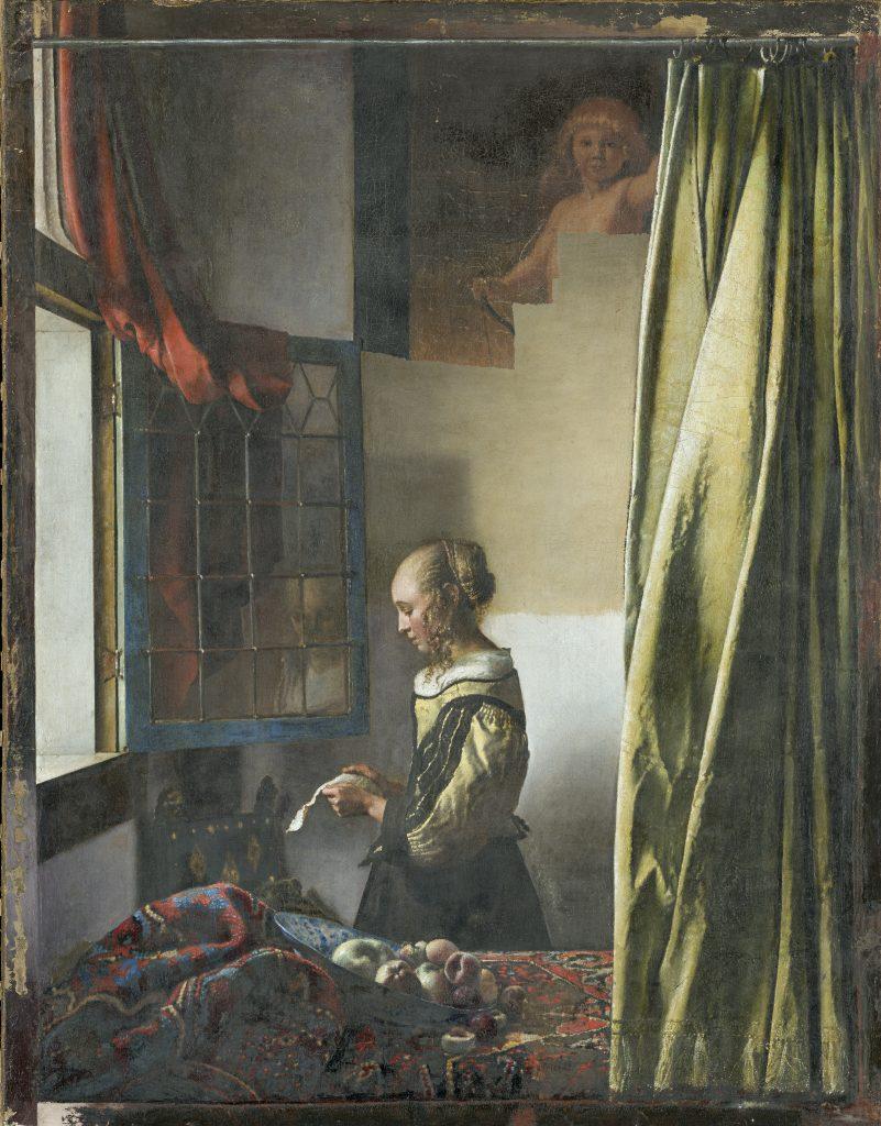 """Vermeers """"Brieflesendes Mädchen am offenen Fenster"""". Aktueller Zwischenzustand der Restaurierung zum 7. Mai 2019, Öl auf Leinwand, Gemäldegalerie Alte Meister."""