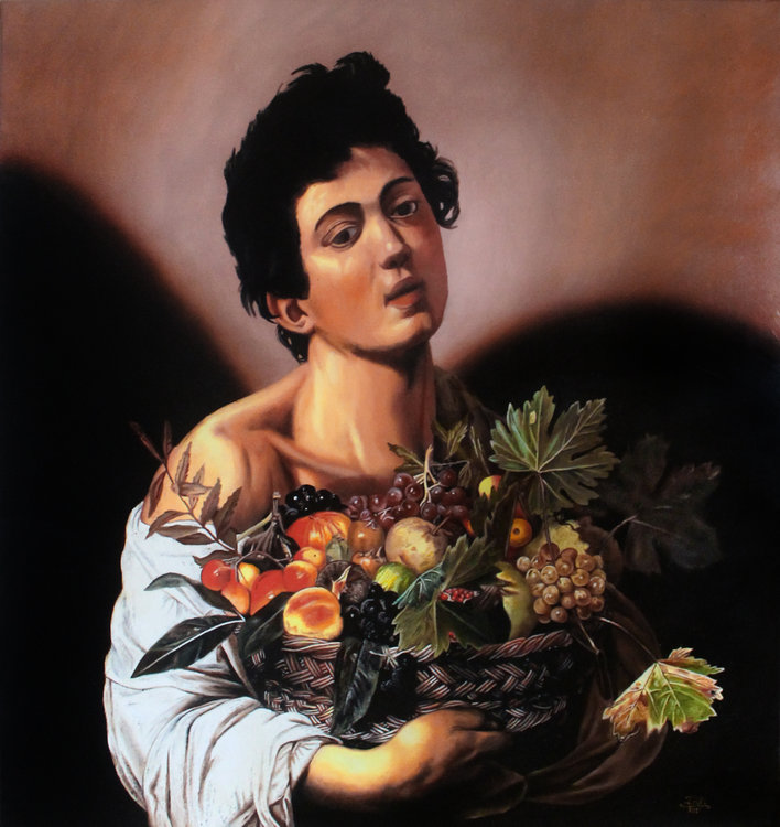 Ivan Pili, 'Caravaggio: boy with fruit basket,' 2017. Oil, Resin, Pigments on Canvas, 80x75cm.