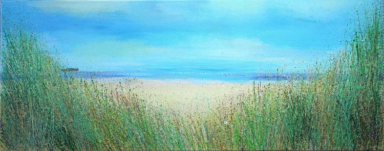 Sandy Dooley, 'Camber Sands Beach,' 2019. Acrylic on Canvas, 40x100cm.