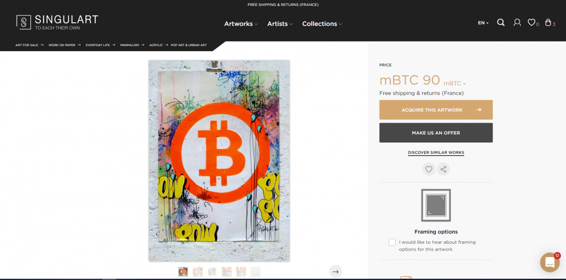 Cover Picture: Bitcoin Art: 'Bitcoin 2018!' By Jp Malot, acrylic, collage, watercolor, graffiti, felt, ink on paper, 70x50cm. Available for purchase on Singulart. Screenshot: Singulart.
