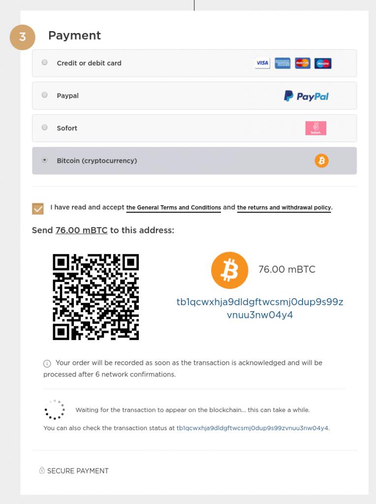 So sieht die Bezahlung in Bitcoins bei Singulart aus. Screenshot: Singulart.