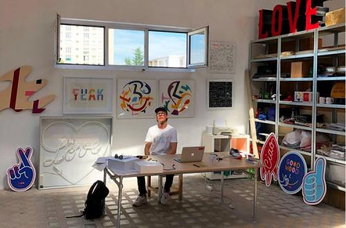 Pieter Ceizer in his studio