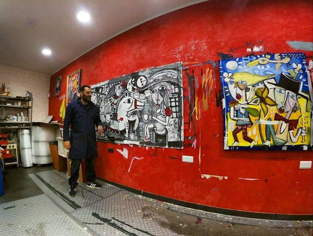 Alessandro in his Rome studio, 'Sivigliart'.