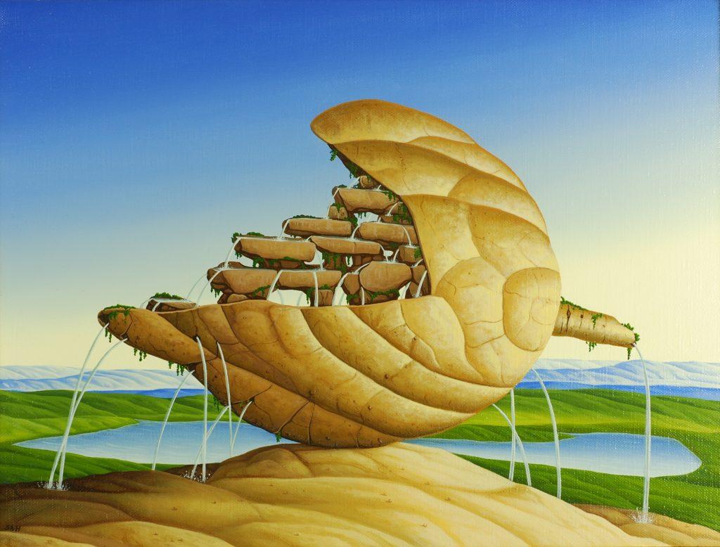 Siegbert Hahn, Fruchtquelle (1999),  Öl auf Leinwand, 30x40cm.