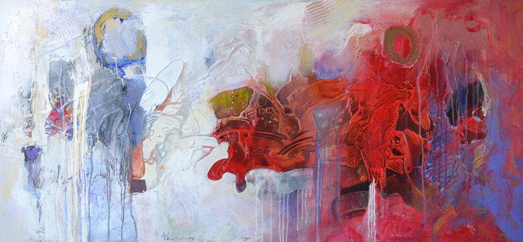 Vania Bouwmeester Pentcheva, 'Times Signature 16,' 2017. Acrylic, Oil on Linen, 70x150cm.