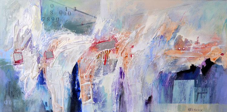 Vania Bouwmeester Pentcheva, 'Times Signature 5,' 2017. Acrylic, Oil, Colored pencil on Linen, 60x120cm.