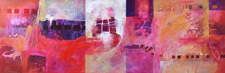 Vania Bouwmeester Pentcheva. 'Bologna,' 2016.  Acrylic, Oil, Colored pencil, Cement on Linen, 60x180cm.