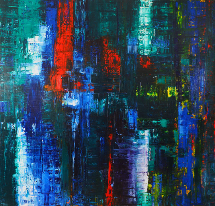 Catherine Timotei. 'Reflection N°4/2014: Blue, Green, Red, Yellow,' 2014. Oil on Canvas, 200x190cm.