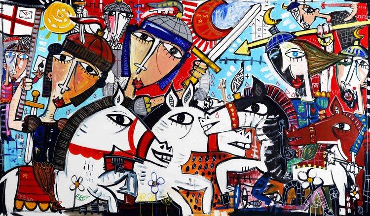Alessandro Siviglia, 'Gli Araldi della Regina', 2019. Acrylic, Pen, Spray paint on Canvas, 120x210cm.