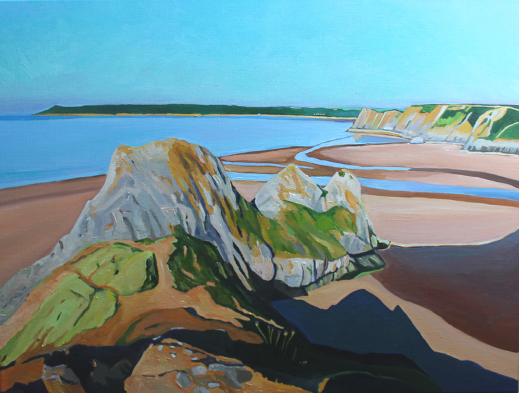 Emma Cownie, 'Early Morning, Three Cliffs Bay,'  2018. Oil on Canvas, 60x80cm.