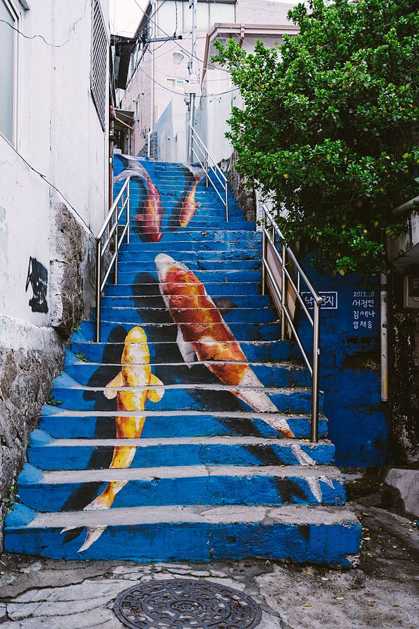 Blue stairs in Ihwa Mural Village