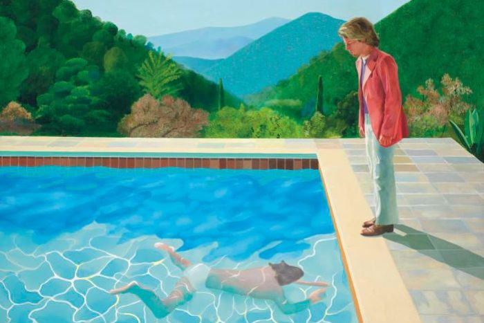 Pop Art by David, Hockney, Portrait of an Artist (Pool with Two Figures) , 1972.