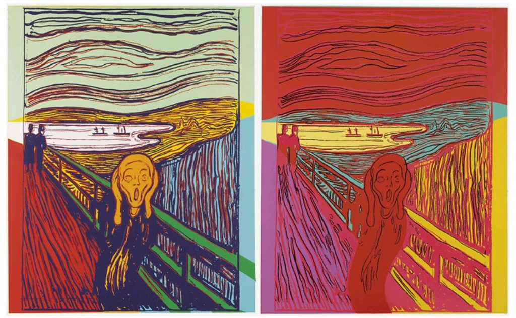 Two Andy Warhol prints of The Scream (After Munch) .