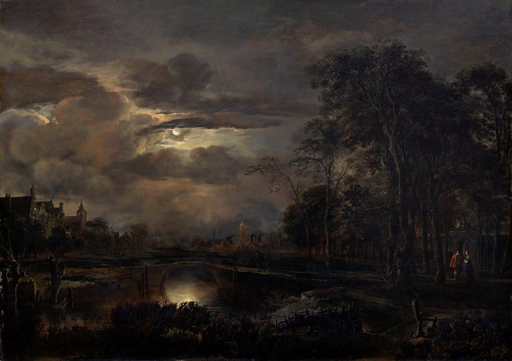 """Moonlit Landscape with Bridge, one of Van Der Neer's """"nocturnes"""" (night scenes) (1648-1650); oil on panel."""