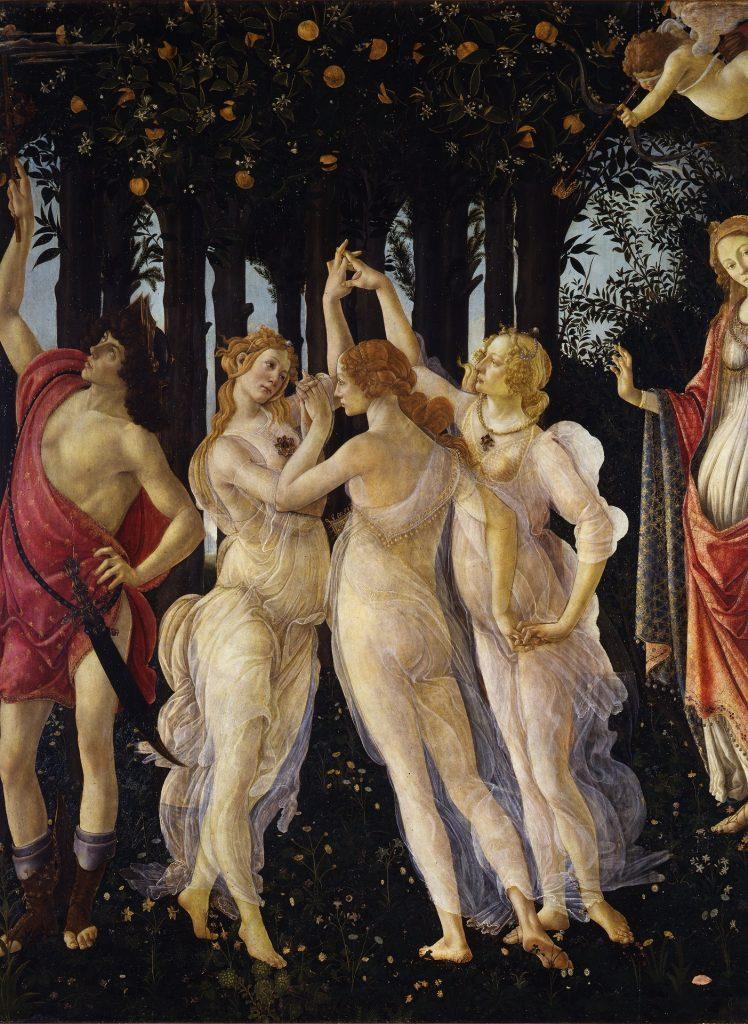 Detailansicht (rechte Bildhälfte): Die drei Grazien. Quelle: Uffizien Florenz.