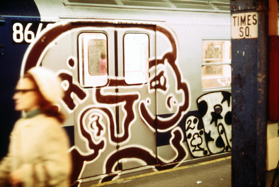 Graffiti on a New York City subway car, circa 1970s.