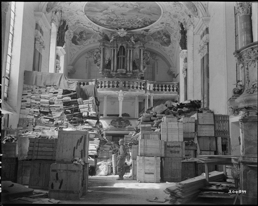 A chapel serves as a Nazi storage facility for stolen art circa WWII.