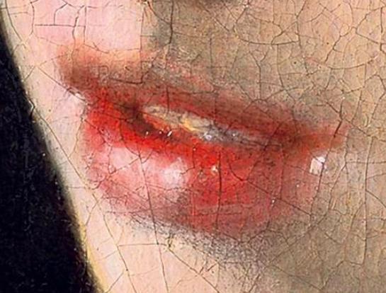 Das Mädchen mit dem Perlenohrring, Detailansicht: Der geöffnete Mund.