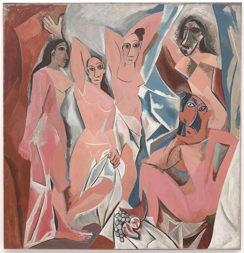 Pablo Picasso, Les Demoiselles d'Avignon, 1907, considered to be a major step towards the founding of the Cubist movement which informed the abstract art movement in turn.