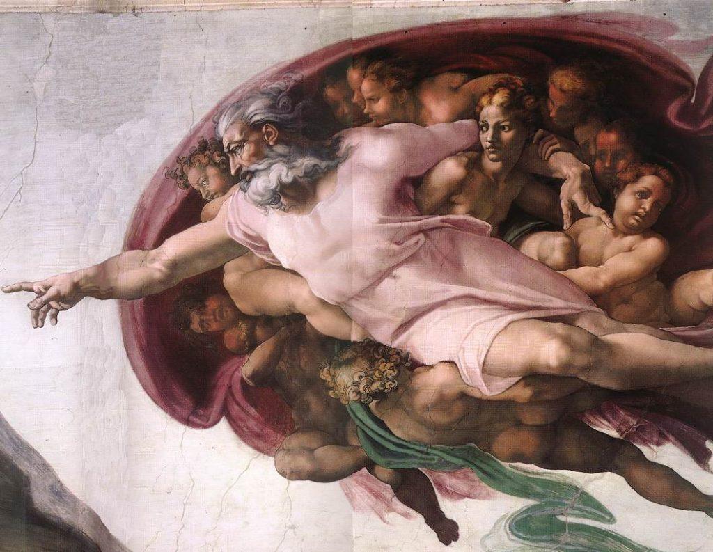 """Detailansicht der """"Erschaffung Adams"""": Gott, umgeben von Putti."""