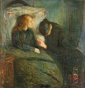 Completed before The Scream, The Sick Child is the title given to a group of works completed by Munch after the death of his older sister Johanne Sophie from tuberculosis at age 14.