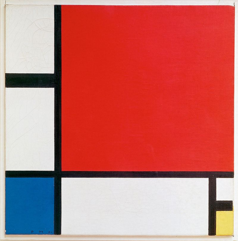 Piet Mondrian, Composition II in Red, Blue, and Yellow, 1930, a precursor the abstract art, specifically Cubism