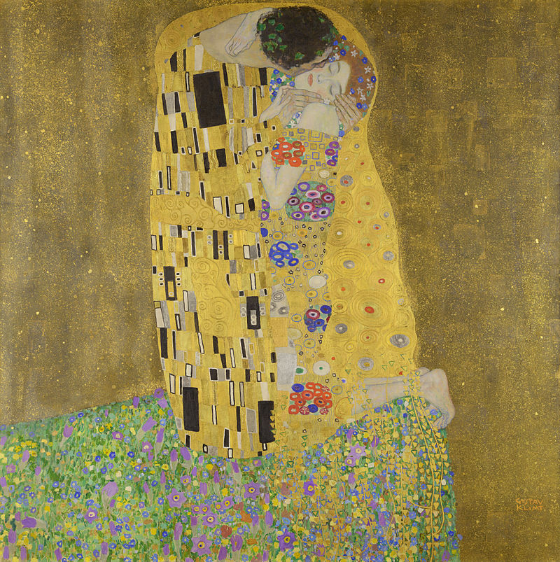 The Kiss (Lovers), oil and gold leaf on canvas, 1907–1908.