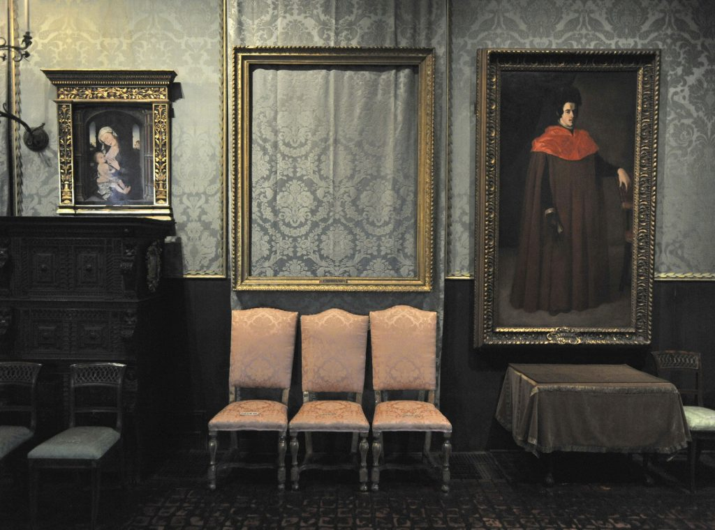The empty frame of Rembrandt's The Storm on the Sea of Galilee remains on display at the Isabella Stewart Gardner Museum. Photo: Josh Reynolds/AP.