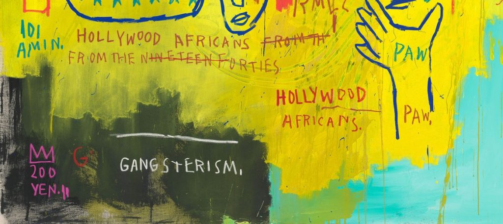 Detail of textual elements in Hollywood Africans