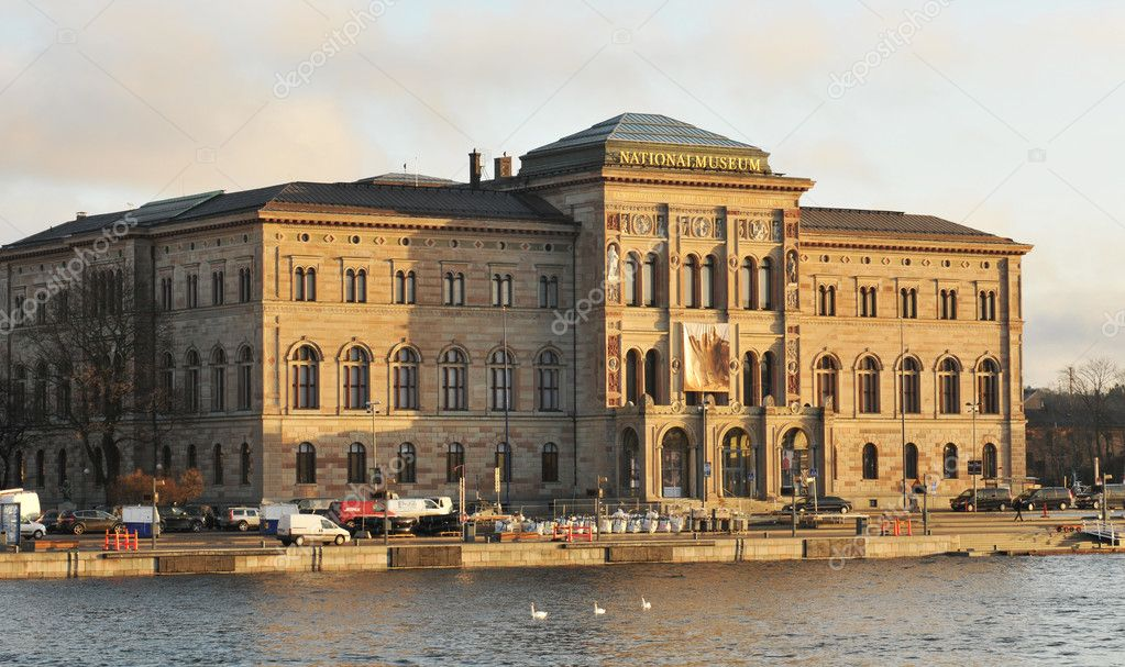 The National Museum of Fine Arts in Stockholm seen from the harbor where thieves escaped by boat.