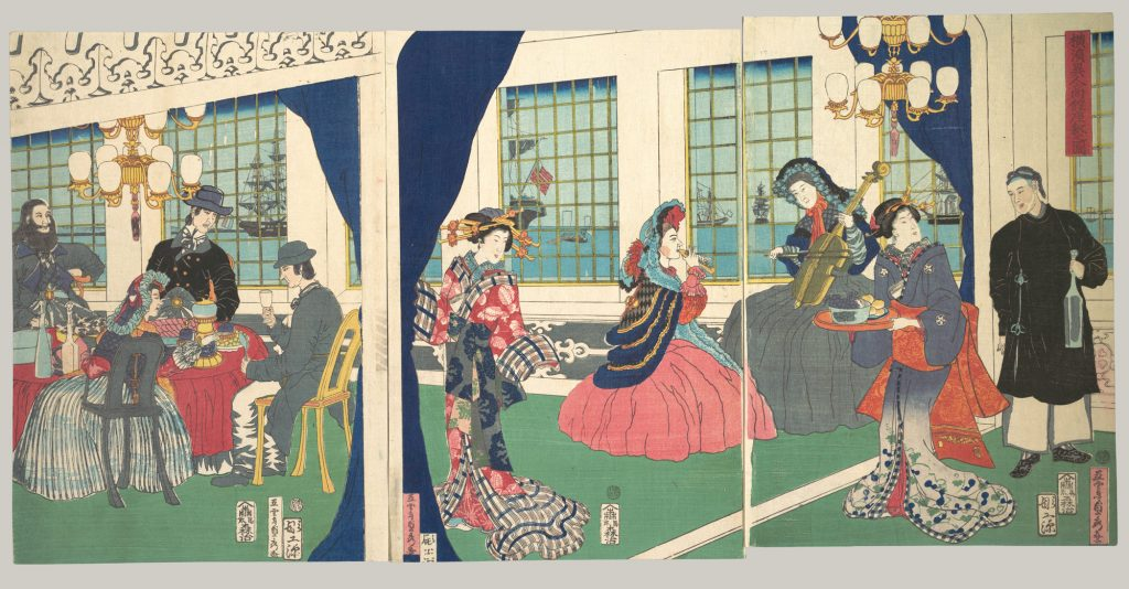 A Japanese woodblock print, Foreigners in the Drawing Room of a Foreign Merchant's House in Yokohama Department, by artist Utagawa (Gountei) Sadahide, 1861. Japanese woodblock inspired the composition of The Kiss.