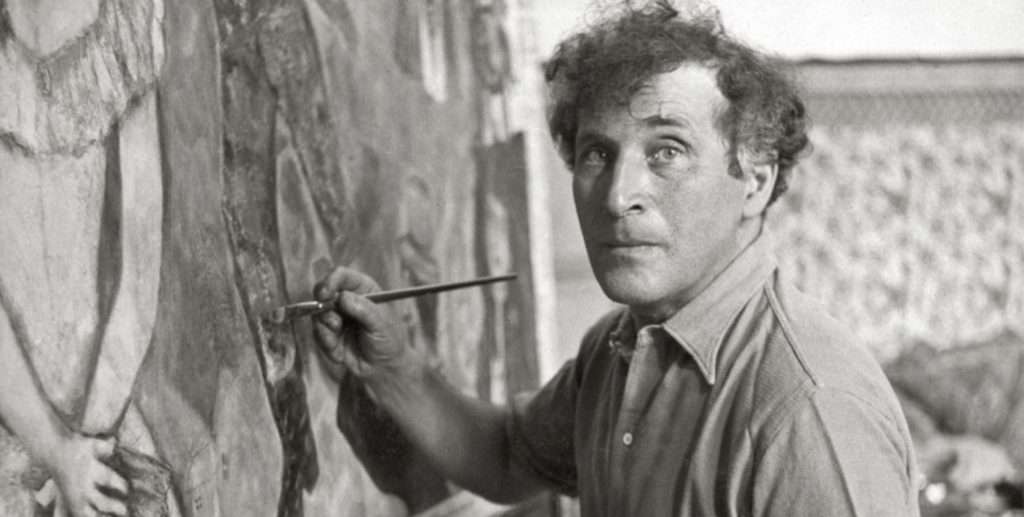 Portrait of American Windows creator Chagall at work.
