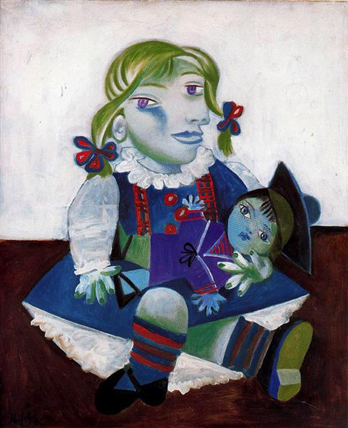 Maya a la Poupee (Maya with doll) 1938, one of the paintings stolen from the home of Maya and Dianna Widmaier-Picasso's home in 2007.