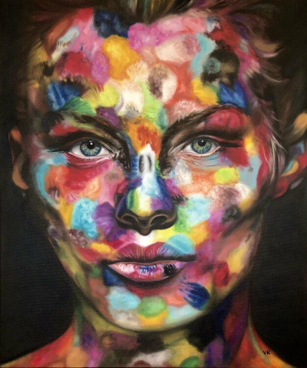 """Valentina Andrees-Reschetizka, """"Sophia in Farben"""", 2019, Öl auf Leinwand, 120x100cm"""